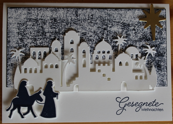 Stempelhurra.com Weihnachtskarte Heilige Nacht, Christmas Card Night In Bethlehem, Stampin Up, SU