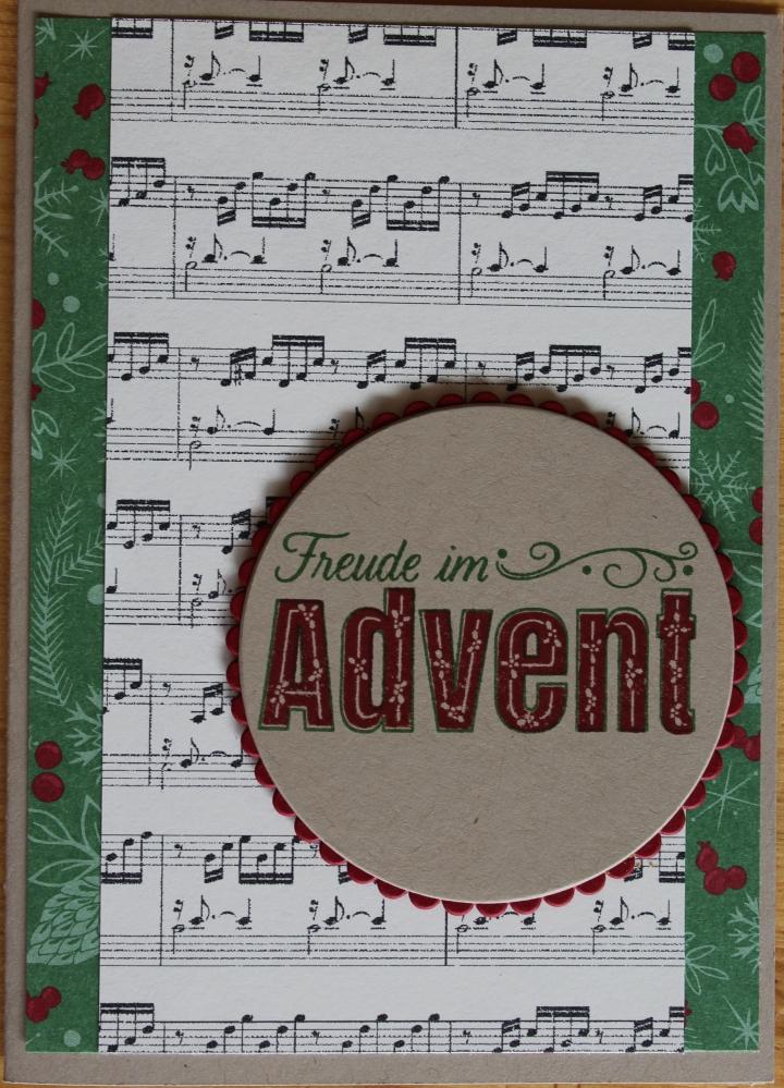 Stempelhurra.com Weihnachtskarte mit Stampin Up Designerpapier & Freude im Advent Stempelset