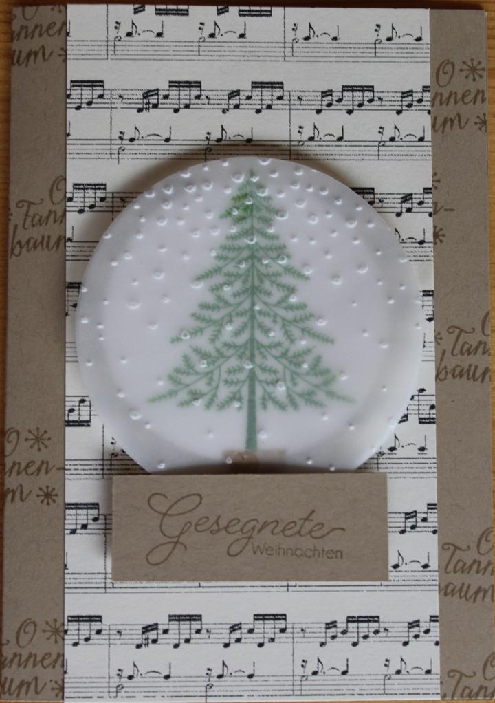 Stempelhurra.com Weihnachtskarte Tannenbaum in der Schneekugel mit Stampin Up