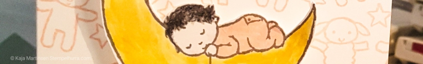 Stempelhurra.com Moon Baby Karte zur Geburt, Stampin Up, SU